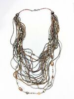 Silver Tone Brown Gray Glass Seed Bead Multi Strand Necklace 14053