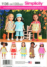 "SIMPLICITY SEWING PATTERN 1136 18"" DOLL CLOTHES - DRESSES, MAXI, TOPS. PANTS BAG"
