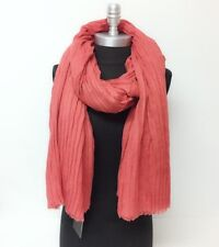 LONG Solid Rust Crinkle Oblong Scarf w/ Self Fringes Silk Pashmina Shawl Wrap