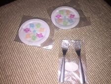 "American Girl Gourmet Kitchen Dinner lunch plates forks set for 18"" doll NEW"