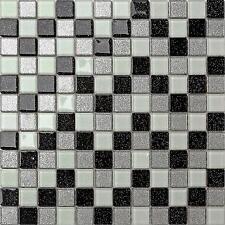 Glass Mosaic Wall Tiles Silver Black White Glitter (300x300x4mm) GTR10029 SHEET