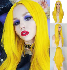 AU STOCK Heat Safe Synthetic Wig Silky Straight Yellow Synthetic Lace Front Wigs