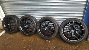 "Saab 9-3 / 9-5 set of 17"" black Aero Alloy Wheels And Tyres"