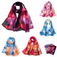 1PC Vogue Women Chiffon Lotus Printing Long Soft Wrap Scarf Ladies Shawl Scarves