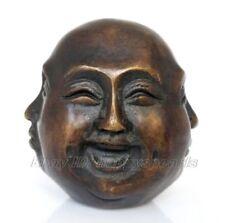 Ancien Signé Bronze Sculpté bouddhisme Bouddha Tête Sculpture Statue 4 visages