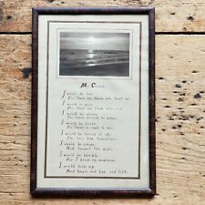 RARE Antique ARTS & CRAFTS Handmade MOTTO PRINT My Creed FAUX PAINT FRAMED Vtg