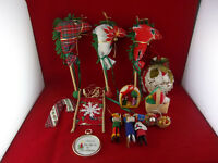 Lot Of 14 Vintage Hand Made Sewn Quilted Crochet Christmas Ornaments