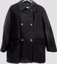 Max Mara Italy Black Wool Cashmere Basic Knee Length Coat Womens Size 6