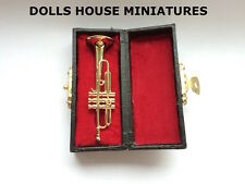 Trumpet with Hard Case, Doll House Miniature. 1.12th Scale Musical Instrument
