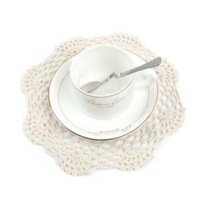 4Pcs Cotton Handmade Crochet Placemat Washable Lace Doily Beige Vintage 20cm New