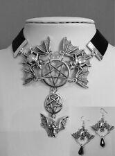 1/set necklace earrings Flying bats and inverted pentagram, black velvet choker
