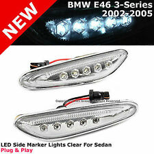 BMW 3-Series 02-05 E46 Sedan Side Marker Signal Lamp White LED Chrome Clear