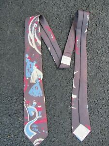 """Vtg NOS 1940's 50's Countess Mara """"Old King Cole"""" Print Tie 40s 1950's Hollywood"""