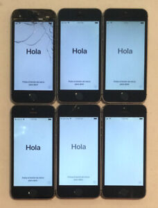 SIX IC LOCKED APPLE iPhone 5S, 16GB PHONES WITH PHYSICAL DAMAGE FOR PARTS B02L