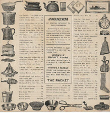 1890s Advertising Flier & Price List w/ Horses Oroville Racket Store Oroville CA