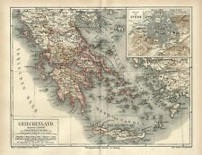 1875 GREECE CRETE ATHENS CITY Antique Map