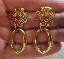 "Vintage Door Knocker Earrings Statement Lattice Top 2"" in Length Gold-Tone"