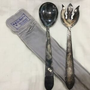 Three Crowns Silversmiths PA Silverplate Salad Fork and Serving Spoon, B2