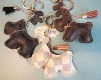 Tassel  Grid Checker Teddy Dog Car KeyChain Pendant Charm for Handbag backpack