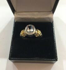 Lagos Caviar - Oval Blue Aquamarine - Sterling Silver and 18K YW Ring - Sz 7.25