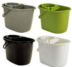 15 LITRE Plastic Durable Mop Bucket with Strainer / Wringer - Black Grey Green