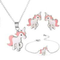 Silbern/Pinkes Einhorn-Schmuck Set mit Kette, Ohrringen und Armband NEU