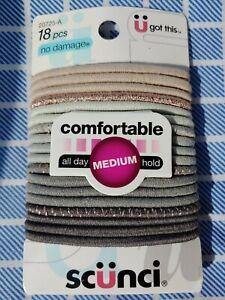 Scunci No Damage Comfortable All Day Medium Hair Elastic Ties 18 pc Item 20725A