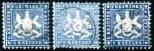 WTTBG 1863 27a-c gestempelt FARBEN geprüft BPP 410€(D4736