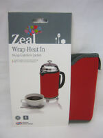 New Zeal Cafetiere Insulated Thermal Heat Wrap Jacket 8 Cup Red C124