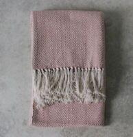 Barkot Twill Blanket Throw Cotton Cashmere, Blush Pink 125 x 150cm