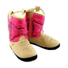 New Pink Cowgirl Boot Slippers Toddler Girls Sz S 4-9 Pink Western Cowboy Boots