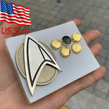 Star Trek Picard Combadge Rank Pips Brooch Set Command Science Engineering Pin