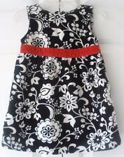 Old Navy Toddler Girls Black White Red Floral Velvet Holiday Party Dress 18-24M