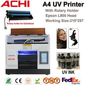 ACHI A4 UV Drucker 6 Farben Epson L800 Druckkopf & Drehhalter Flach bedruckt UV