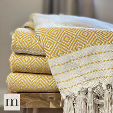 Eco Friendly Ochre Yellow Mustard Abstract Diamond Bed Sofa Throw Blanket Fringe