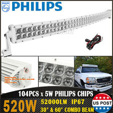 White 54Inch 520W Curved Led Light Bar Spot Flood 4X4WD Offroad Driving Fog Lamp