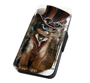 Cat Art Awesome Animal Steampunk Kitten Flip Case for iPhone Samsung Huawei