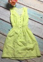 Shoshanna Size 2 ISABEL Silk Houndstooth Yellow Cream Dress