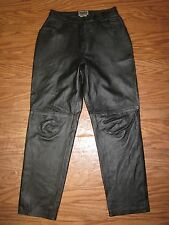 Forenza Black 100% Leather Classic Fit Long Leather Pant Women 10 **Excellent**