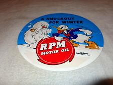 "VINTAGE ""DONALD DUCK"" STANDARD RPM GASOLINE 12"" METAL GAS & OIL SIGN! PUMP PLATE"