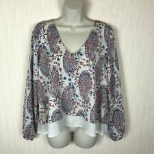Women's Abercrombie&Fitch Floral Paisley Layered Holiday Loose Blouse Size 12 UK