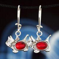 Koralle Silber 925 Ohrringe Damen Schmuck Sterlingsilber H0255