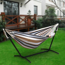 Double Hammock With Space Saving Steel Stand Waterproof Carrying Bag  2 Person