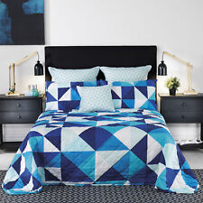 Bianca Cruze Blue KING SINGLE Bed Bedspread. Cotton chenille. Quilted throw over