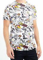 Men's Brave Soul Graphic Comic Graffiti Style Short Sleeve Crew Neck T-Shirt