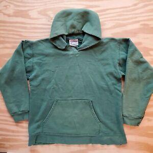 Vintage Sun Faded Green Hoodie Sweatshirt Blank Natural Hanes Small
