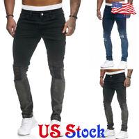 Men Casual Skinny Gradient Jeans Ripped Stretch Slim Fit Denim Pants Trousers