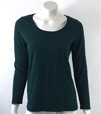 Fashion Bug Womens Top Size Small Teal Blue Solid Scoop Neck Fitted Tee Shirt