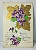 Antique Embossed Postcard Violets Gold Colored Leaves