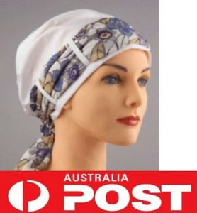 Fitted Hat Cap + Bandana Scarf Head Wrap Cancer Chemo Cover Black White OffWhite